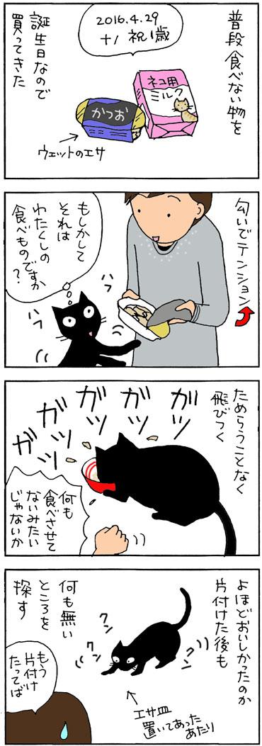 初めてのウエットエサを食べる4コマ猫漫画