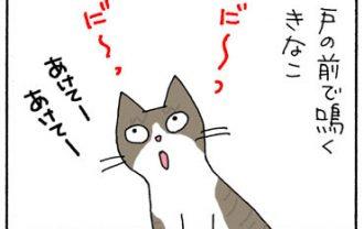 開けてと鳴くネコの4コマ漫画