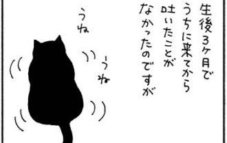 吐いた後は舐める猫の4コマ猫漫画