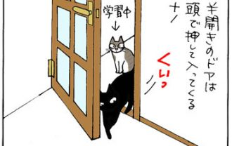 ドアを閉める猫の4コマ漫画
