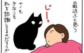 ネコに対して不安に思うことの4コマ猫漫画