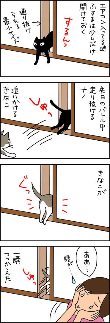 ふすまが通りきれない猫の4コマ漫画
