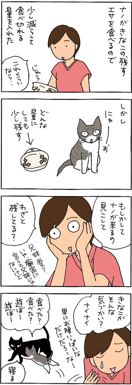 兄のためにエサを残す4コマ猫漫画