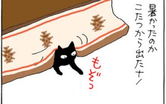 伸びる黒ネコの4コマ猫漫画