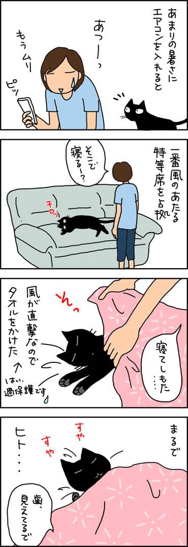 人のように眠るネコの4コマ猫漫画