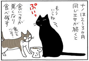 エサを食べない猫の4コマ猫漫画