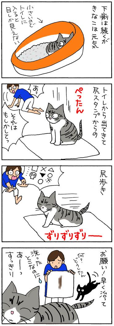 おしり歩きする猫の4コマ猫漫画