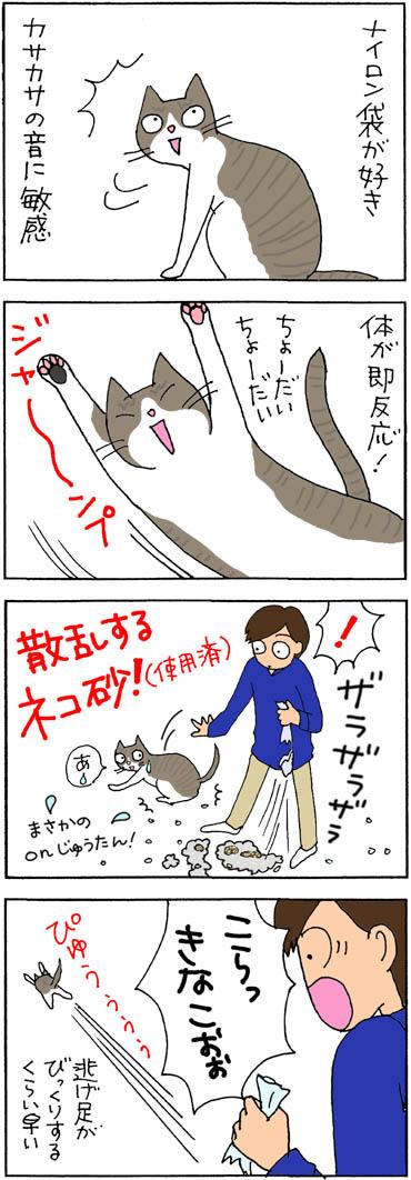 砂をぶちまけた4コマ猫漫画