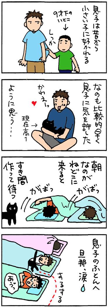 誰の布団に入るのか4コマ猫漫画