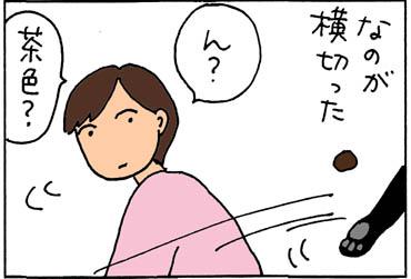 ウンチを付けて走る猫の4コマ猫漫画