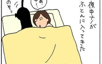猫と一緒に寝て手がしびれた4コマ猫漫画