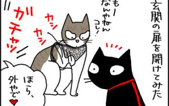 ハーネスをつけて玄関を開けた4コマ猫漫画