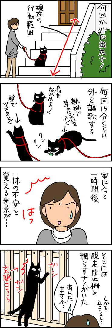 猫を散歩させたら外が好きになったネコの4コママンガ