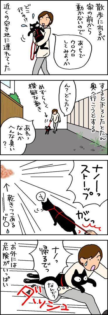 危険な散歩の4コマ猫漫画