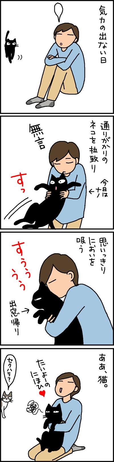 猫のにおいを嗅いで嫌される4コマ猫漫画