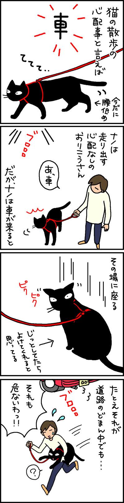 猫のさんぽ車が来たらどうなるかの4コマ猫漫画