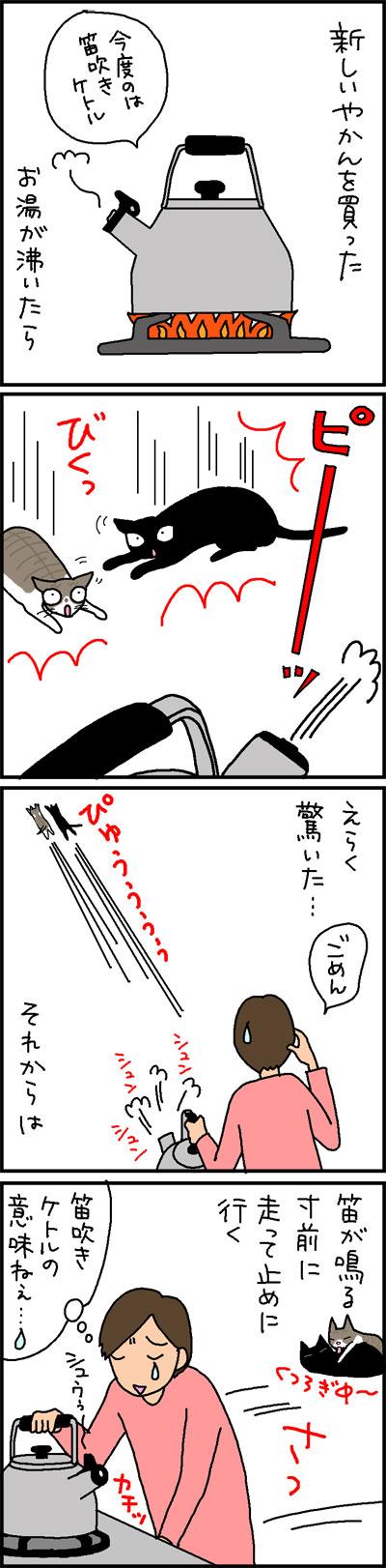 夜間に驚く4コマ猫漫画