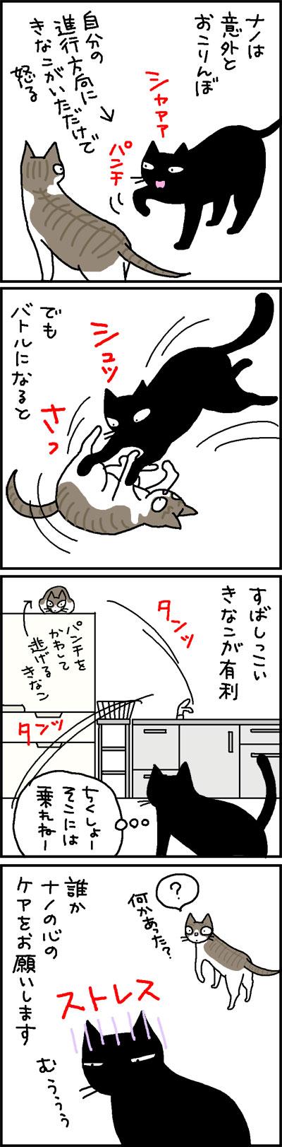 ストレスを感じるネコの4コマ猫漫画
