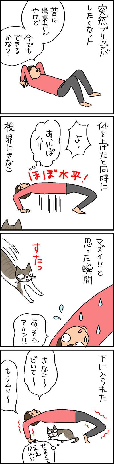 ブリッジに入る猫の4コマネコ漫画