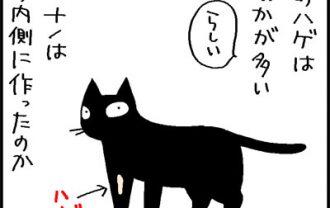 舐めハゲの位置の考察の4コマネコ漫画