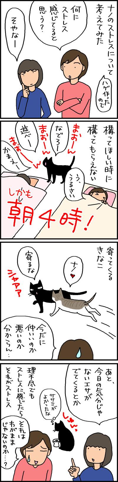 猫のストレスについて考える4コマネコ漫画