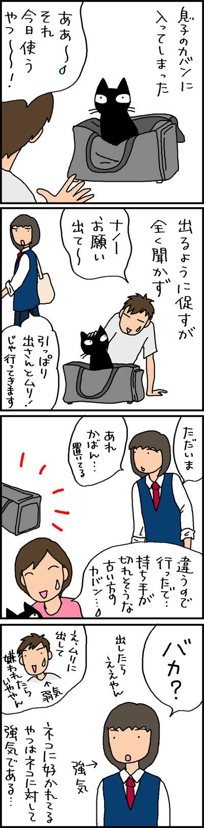 強気な飼い主と弱気な飼い主の4コマ猫漫画
