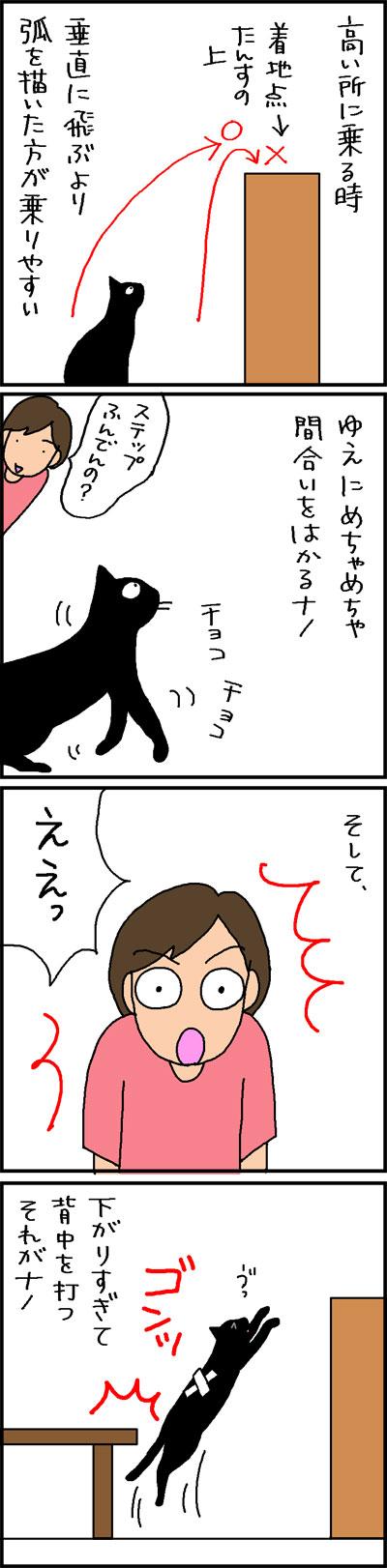 タンスにジャンプするナノの4コマ猫漫画
