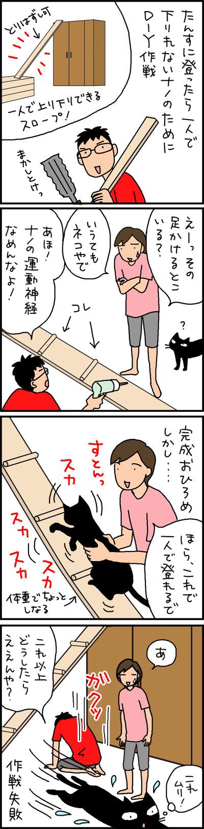 猫のためのDIYが失敗下4コマ猫漫画