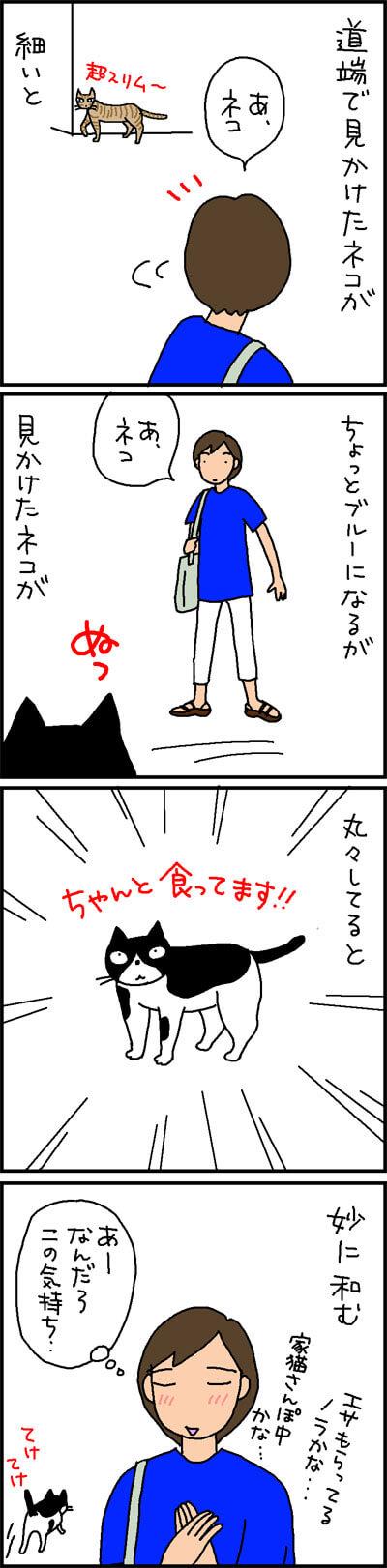 外で見かけた猫の4コマ猫漫画