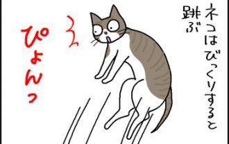 びっくりしてジャンプする猫の4コマ猫漫画