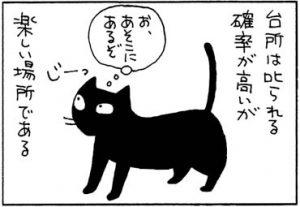 フライパンに入るネコの4コマ猫漫画