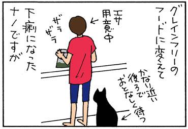 エサを食べてみたネコの4コマ漫画