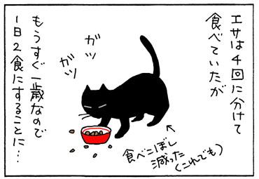 食事の開封を減らした猫の4コマ猫漫画