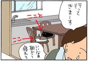 人間がいなくなると動きだす猫の4コマ漫画
