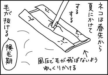 猫毛を掃除する漫画