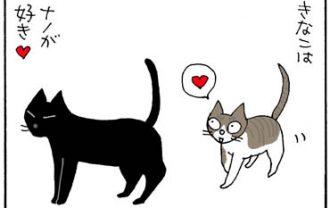 尻のにおいを嗅ぐ猫の4コマ猫漫画