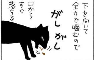 食べるのが下手な猫の4コマ