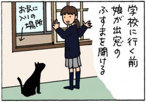 ふすまを破る猫の4コマ猫漫画
