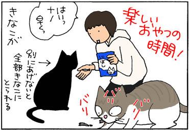 エサを横取りする猫の4コマ猫漫画