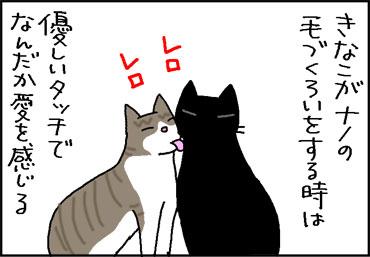 毛づくろいし合う猫の4コマ猫マンガ