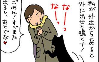 要求が通らないとすねる猫の4コマ猫漫画