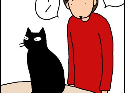 猫をわしゃわしゃする4コマ猫漫画