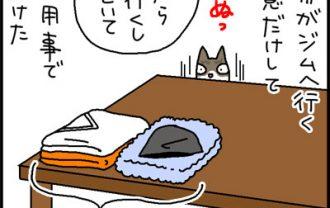 服にスリスリする猫の4コマ猫漫画