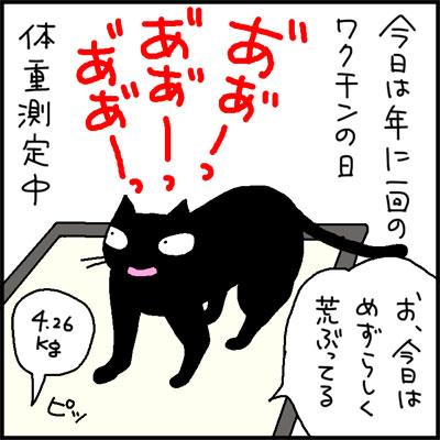ワクチンを受ける猫の4コマ猫漫画