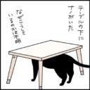 びっくりして頭をぶつける猫の4コマ猫漫画