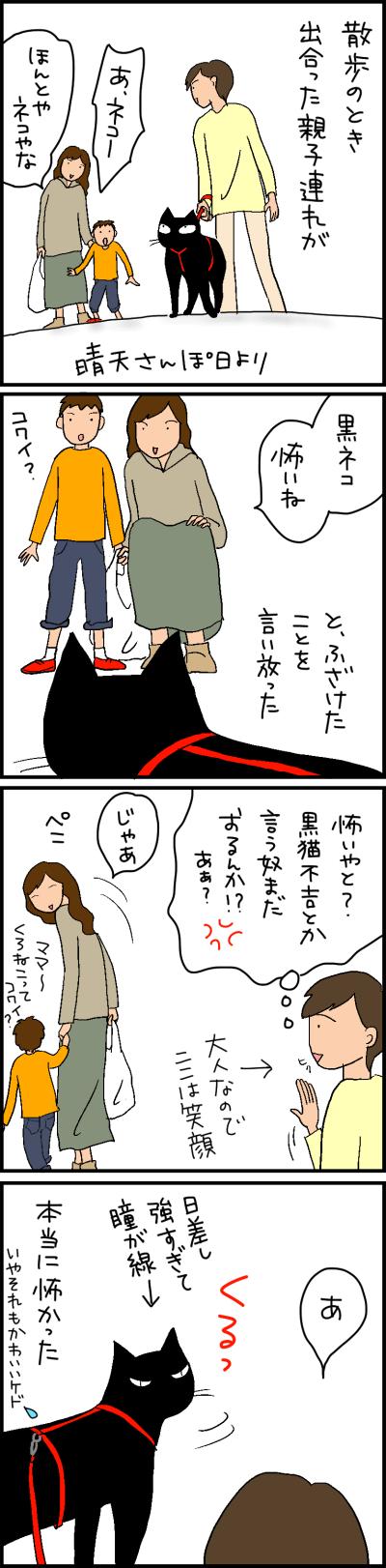 散歩中に怖いって言われた黒猫の4コマ猫漫画
