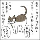 胃炎でダイエットが進んだ猫の4コマ猫漫画