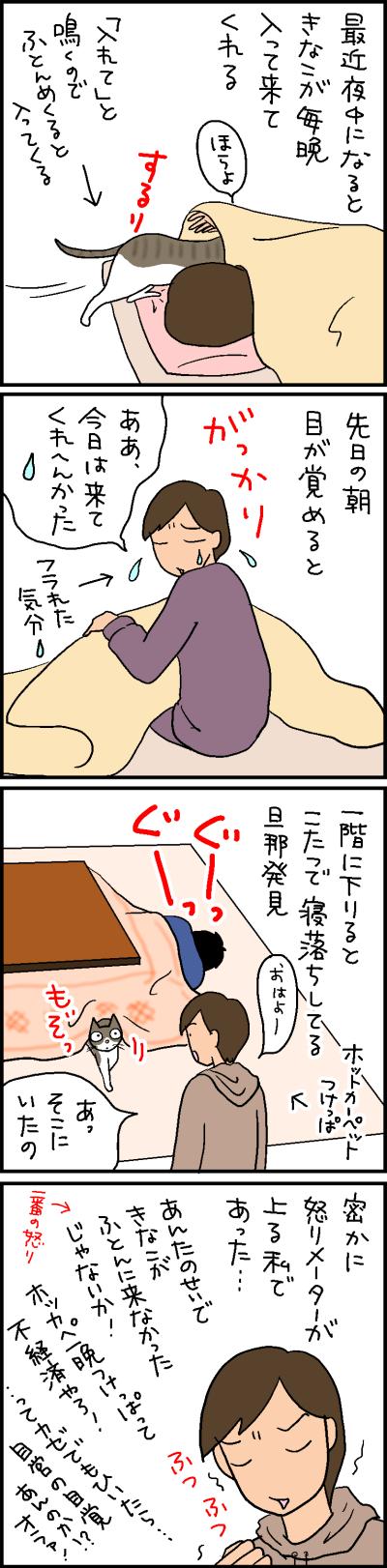 ホットカーペットの温かさに布団は負けるのかの4コマ猫漫画