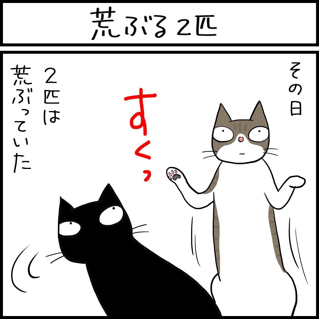 カラスの鳴き声に荒ぶる猫の4コマ猫まんが