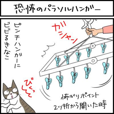 パラソルハンガーの嫌いな猫の4コマ漫画